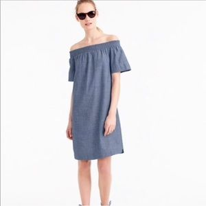 J.Crew Off the Shoulder Chambray Dress